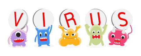 dientes sucios: de dibujos animados vector de virus de conjunto charector