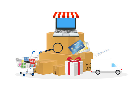 credit cart: online store object with shopping cart box laptop credit card truck and airplane