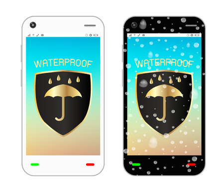 waterproof: smartphone with waterproof  on screen Illustration