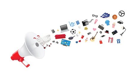 megaphone with general shopping objects Illustration