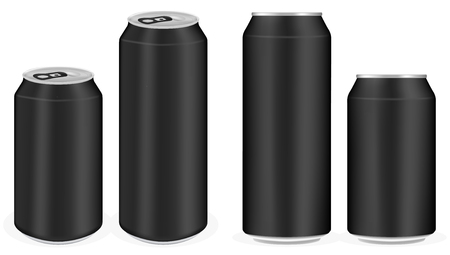ml: black aluminium soft drink cans vector