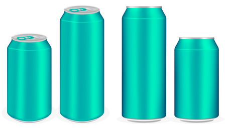 soft drink: light blue aluminium soft drink cans vector
