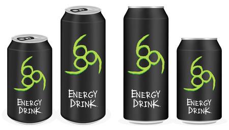aluminio negro latas de bebidas energéticas vectorial