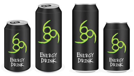 energy drink: black aluminium energy drink cans vector