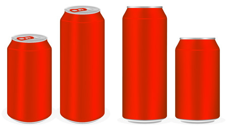 ml: red aluminium soft drink cans vector