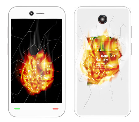 overheat: broken smartphone explosion with burning fire Illustration