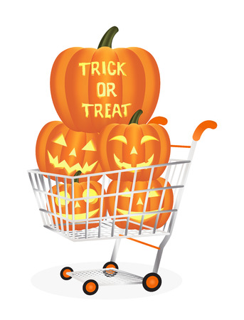 Halloween pumpkins on a shopping cart