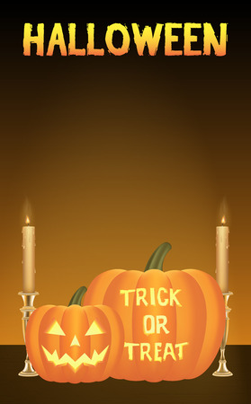halloween pumpkins vector card Illustration