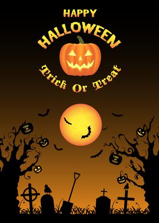 halloween graveyard background vector