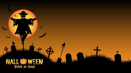 scarecrow with halloween graveyard card Illustration
