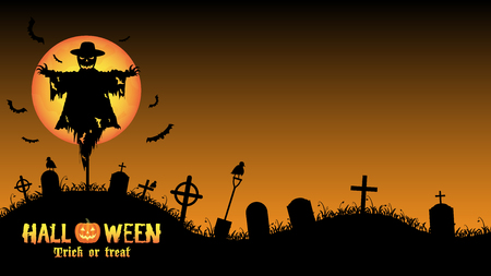scarecrow with halloween graveyard card Illustration