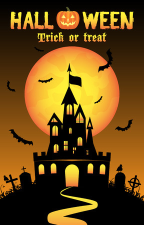 Halloween background with old castle in graveyard