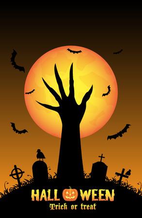 unleash: Halloween background with demon hand in graveyard