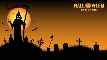 grim: grim reaper with halloween background Illustration