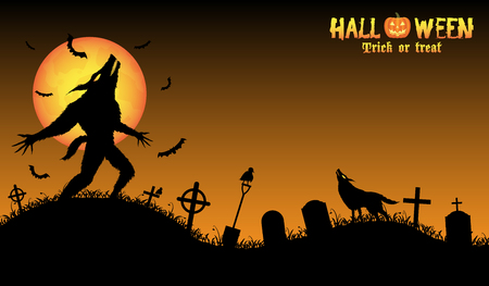 howling werewolf with halloween background Ilustrace