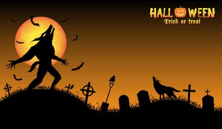 howling werewolf with halloween background Illustration