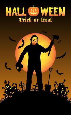 halloween serial killer in a graveyard