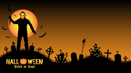 halloween serial killer in a graveyard Illustration