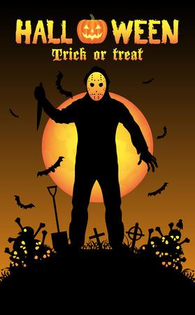 killer: halloween serial killer in a graveyard Illustration