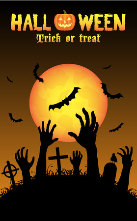 revive: halloween zombies hand in a graveyard