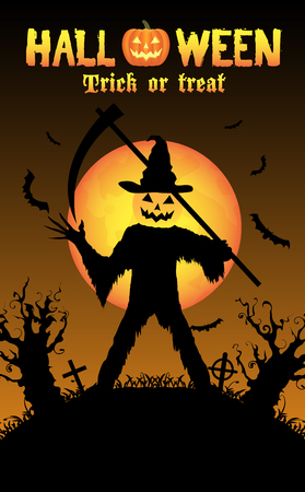 halloween pumpkin killer in a graveyard