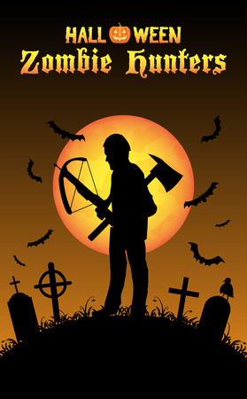 crossbow: halloween zombie hunter with crossbow at graveyard Illustration