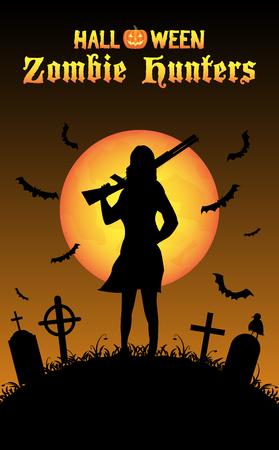 halloween zombie hunter with shotgun at graveyard Vectores