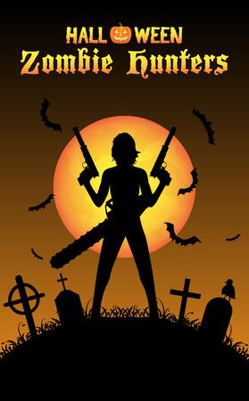 military girl: halloween zombie hunter with handgun at graveyard
