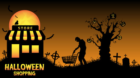 halloween store open in graveyard Stock Vector - 64461293