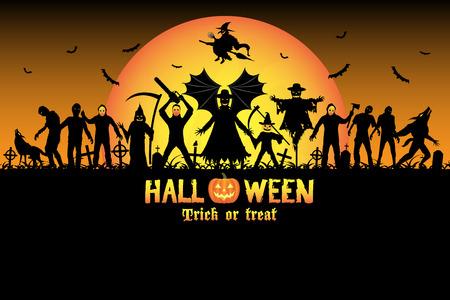halloween monster zombie serial killer set Illustration