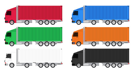 colorful truck cargo container vector