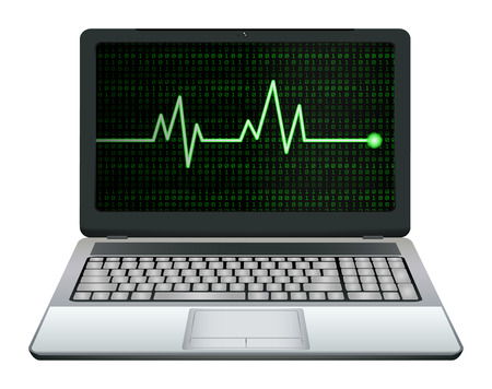 laptop computer with green heart rate on screen