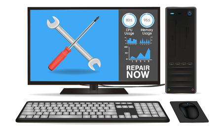computer repair: desktop computer with repair application