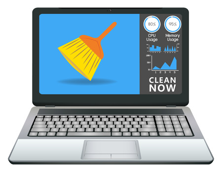 clean up: laptop with cleaning application