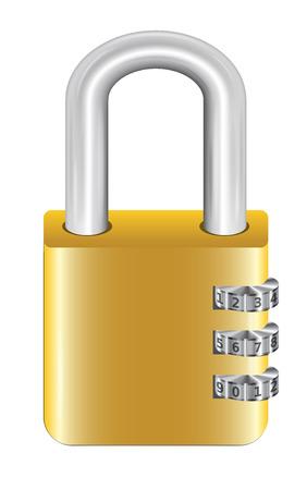 lock and key: gold steel master key lock with padlock Illustration