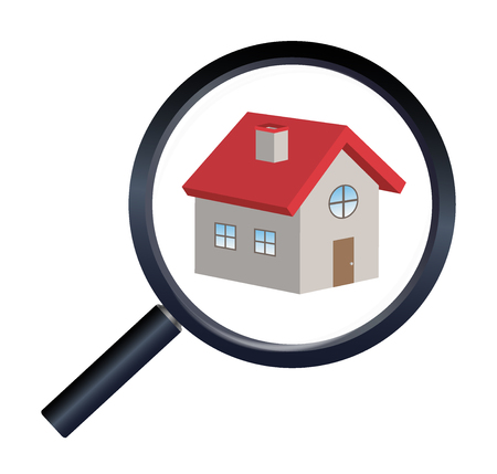 housing search: magnifying glass finding house Illustration