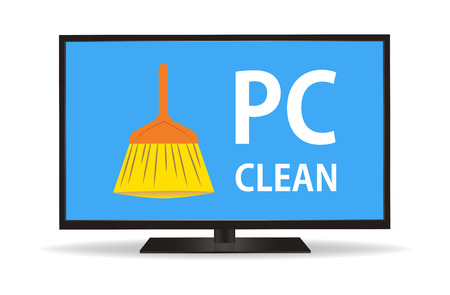 pc: pc monitor with clean brush