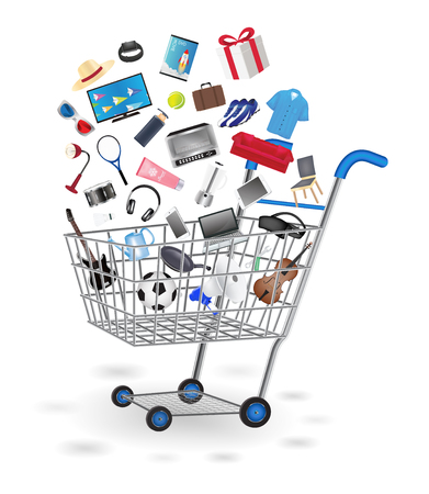 floating: shopping cart with shopping object floating