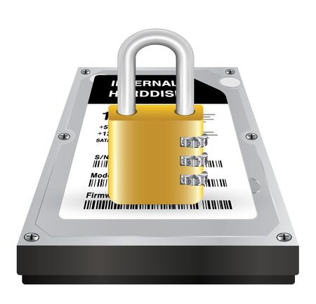 internal harddisk with a master lock protect data Illustration