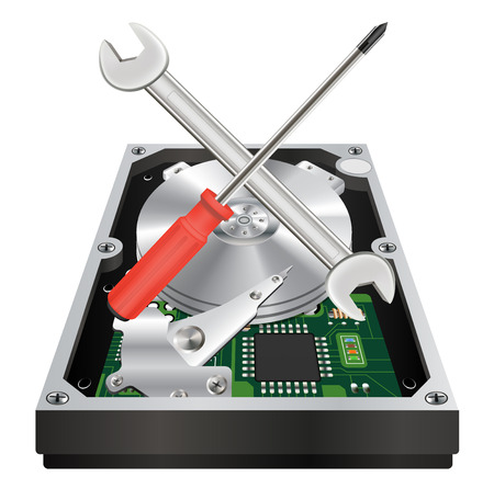 disco duro: inside of a internal harddisk with wrench and screwdriver Vectores