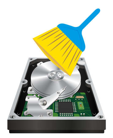 hard drive: internal harddisk with a cleanning wand brush Illustration