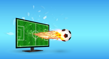 Cracked Screen Television with Football and fire over screen Illustration