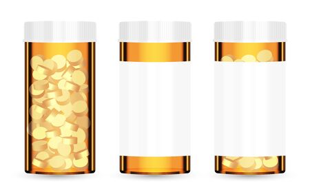 real orange medical pill bottle with pills inside Illustration
