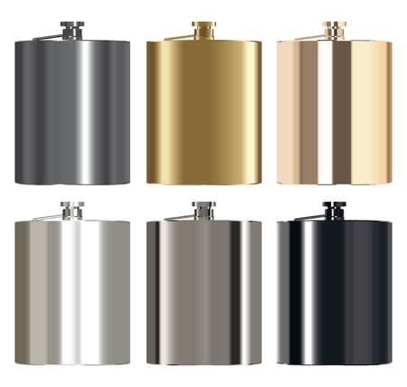 stainless: real metallic whiskey stainless steel bottle vector