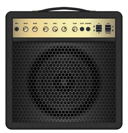 amp: real classic black guitar amplifier vector