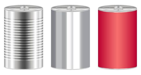 stainless: real stainless steel food can vector