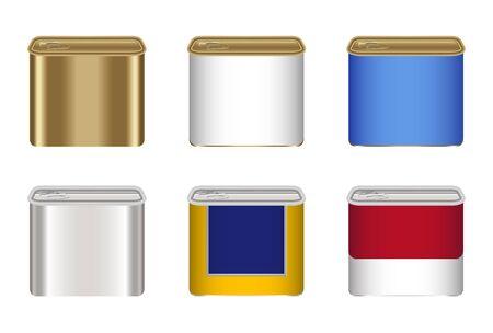 tin: Set of tin food container. Illustration