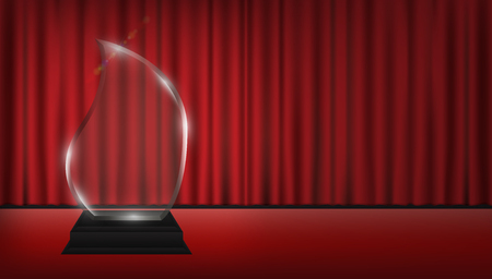 real trophy: Real 3D transparent acrylic trophy with red curtain stage.