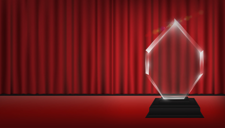 real trophy: Real 3d transparent acrylic trophy with red curtain stage background