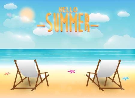 bright summer sea beach with a relax chair Illustration
